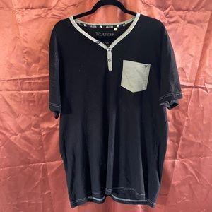 Vintage guess men's XL 100% cotton black shirt